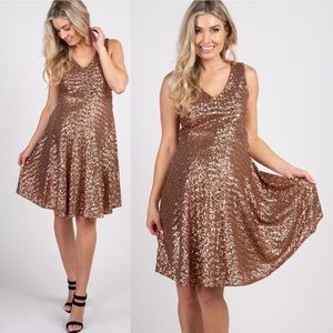 Pinkblush Maternity Rose Gold Sequined Dress